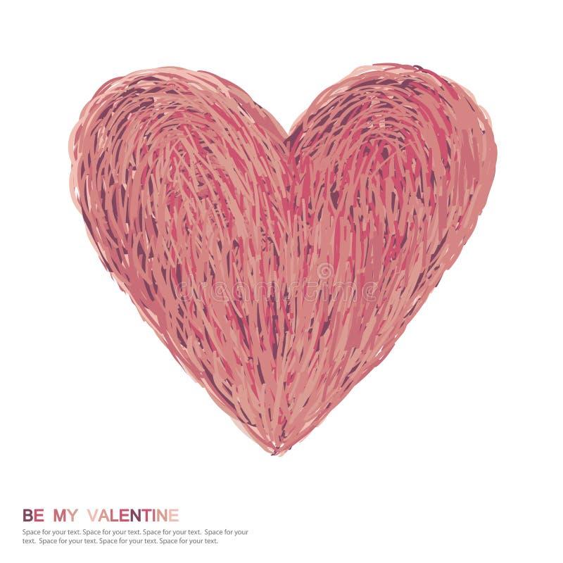 Simbolo di giorno del `s del biglietto di S. Valentino. Simbolo astratto del cuore. illustrazione vettoriale
