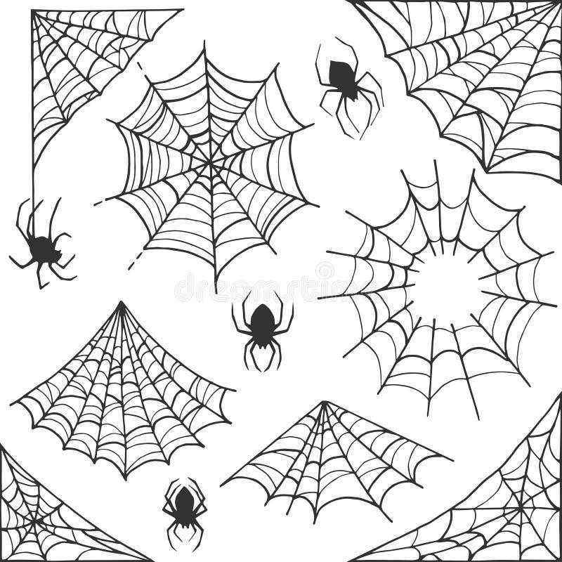 Simbolo di Halloween della ragnatela Raccolta degli elementi della decorazione della ragnatela Struttura e confini di vettore del illustrazione vettoriale