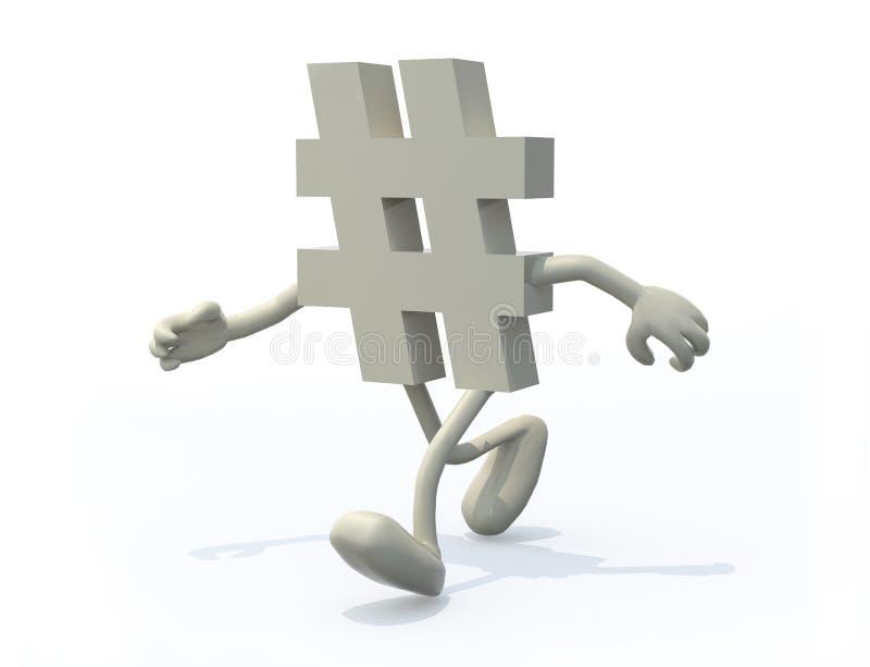 Simbolo di Hashtag con le armi e le gambe illustrazione vettoriale