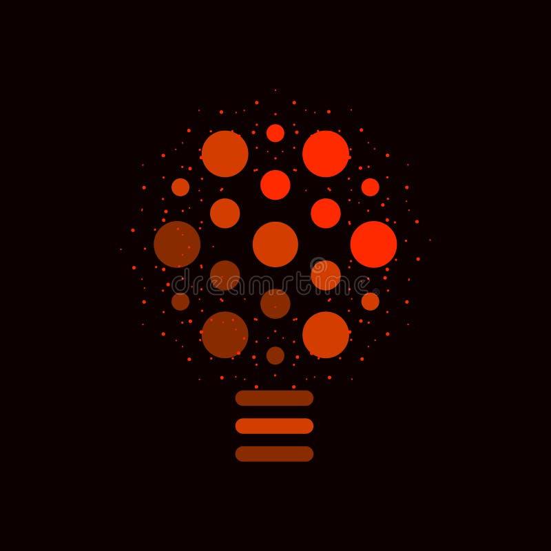 Simbolo di idea Logo creativo rosso su fondo nero Icona astratta della lampada Simbolo insolito della lampadina illustrazione vettoriale