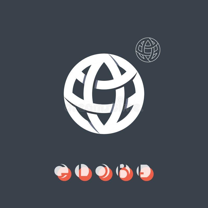 Simbolo di identità di marca, icona del globo illustrazione di stock