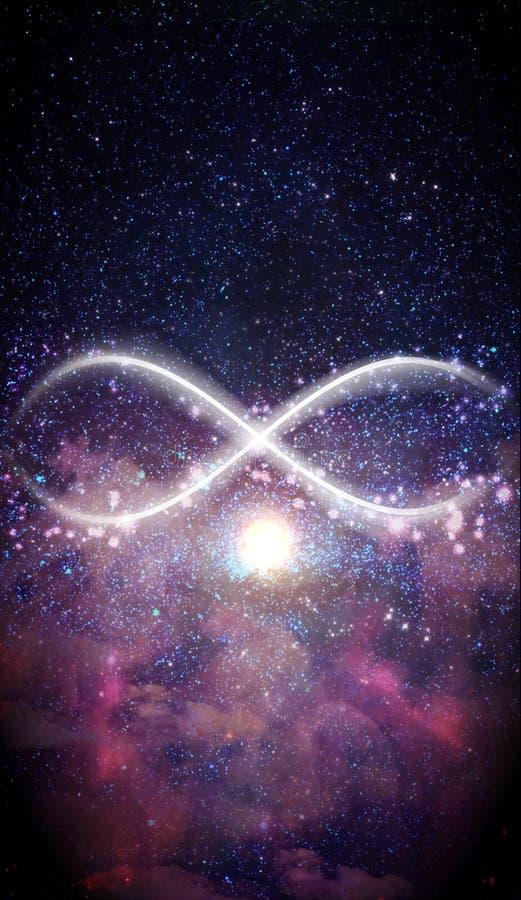 Simbolo di infinito astratto, sfondo dell'universo, espansione immagini stock