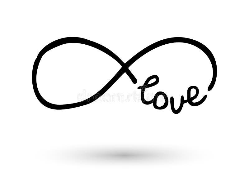Simbolo di infinito disegnato a mano con la spazzola dell'inchiostro illustrazione di stock
