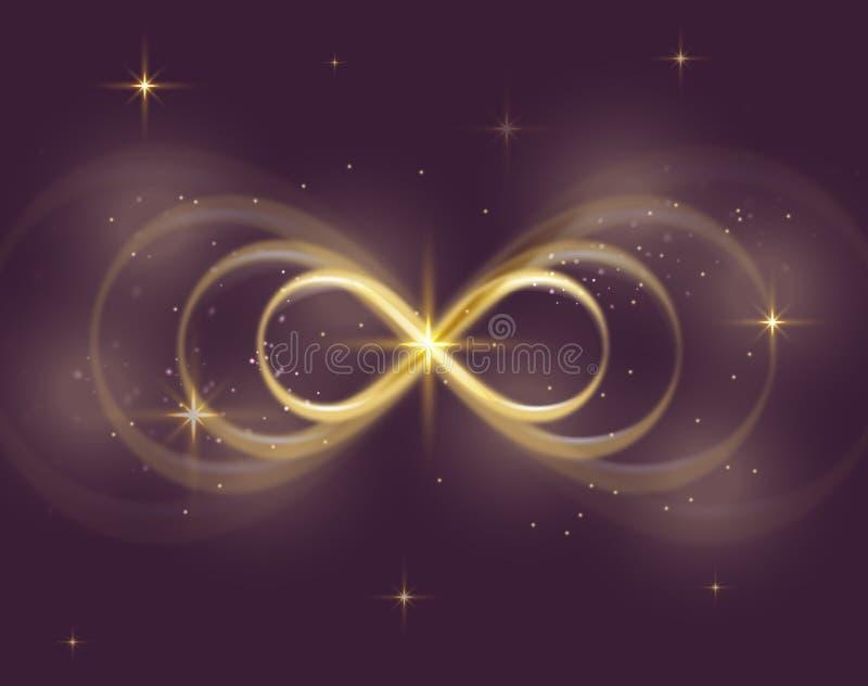 Simbolo di infinito oro, sfondo viola scuro, espansione illustrazione di stock