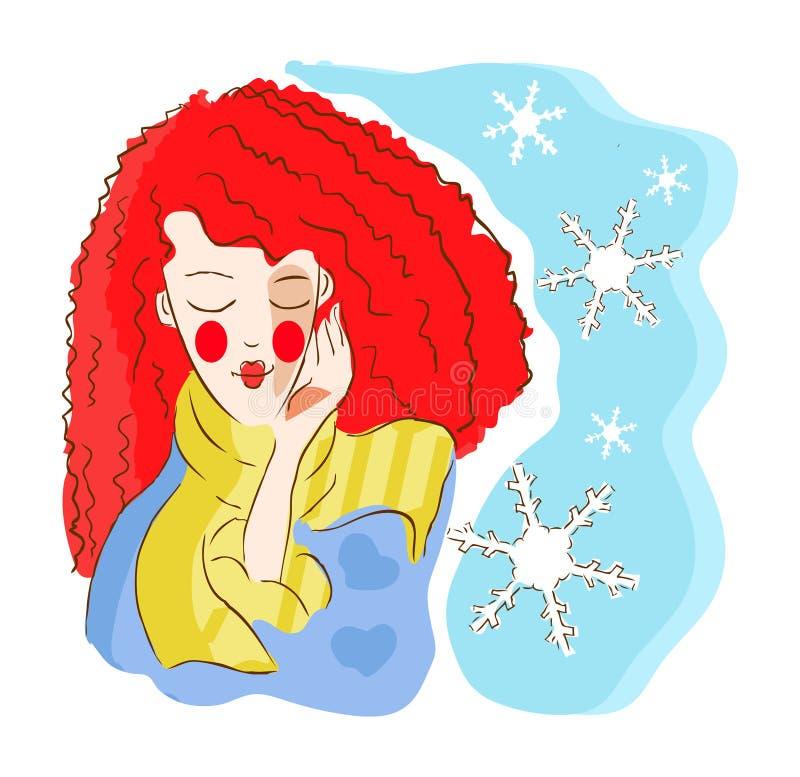 Simbolo di inverno della donna illustrazione di stock