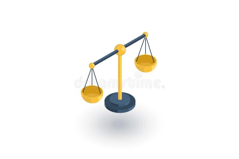 Simbolo di legge e della giustizia, icona piana isometrica delle scale vettore 3d illustrazione di stock