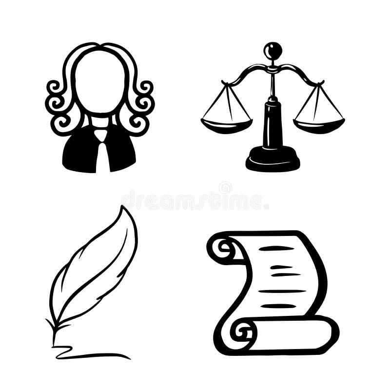 Simbolo di legge e di giustizia Legge e giustizia concettuali Bilancia della giustizia, un giudice, una penna, un rotolo di carta illustrazione di stock