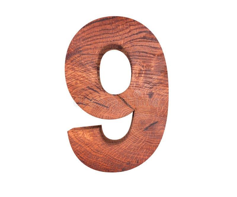 Simbolo di legno decorativo della cifra nove di alfabeto - 9 illustrazione della rappresentazione 3d Isolato su priorità bassa bi fotografia stock libera da diritti