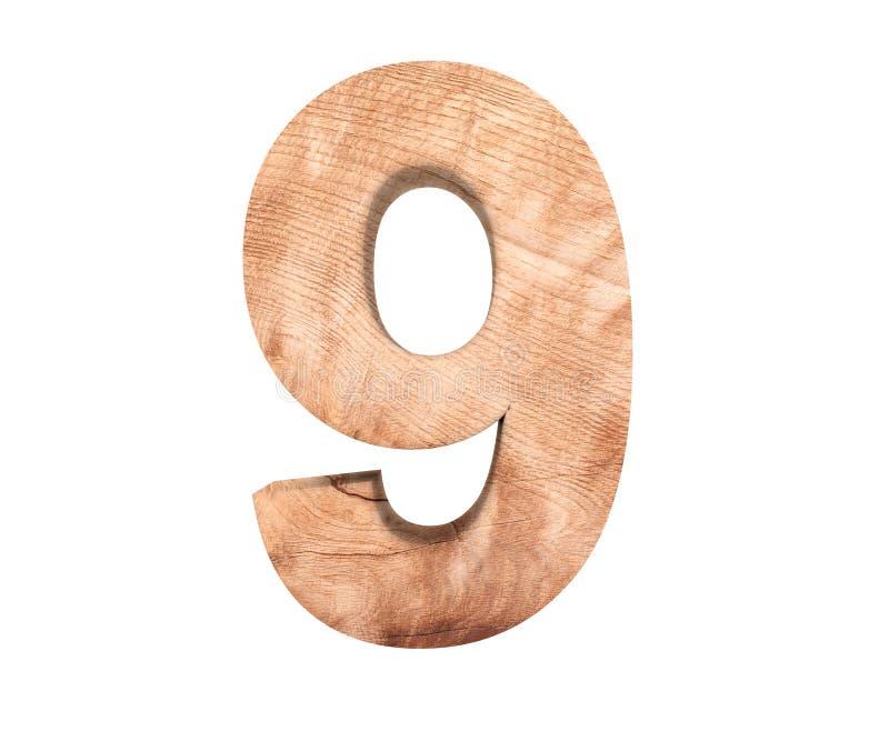 Simbolo di legno decorativo della cifra nove di alfabeto - 9 illustrazione della rappresentazione 3d Isolato su priorità bassa bi fotografia stock