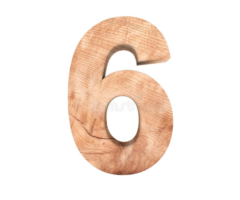 Simbolo di legno decorativo della cifra sei di alfabeto - 6 illustrazione della rappresentazione 3d Isolato su priorità bassa bia immagine stock
