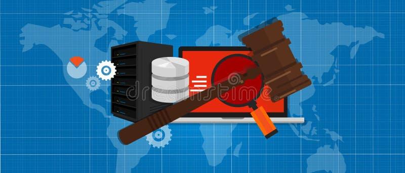 Simbolo di legno dell'asta della corte di crimine del martello della giustizia di Internet di tecnologia dell'informazione di leg illustrazione vettoriale