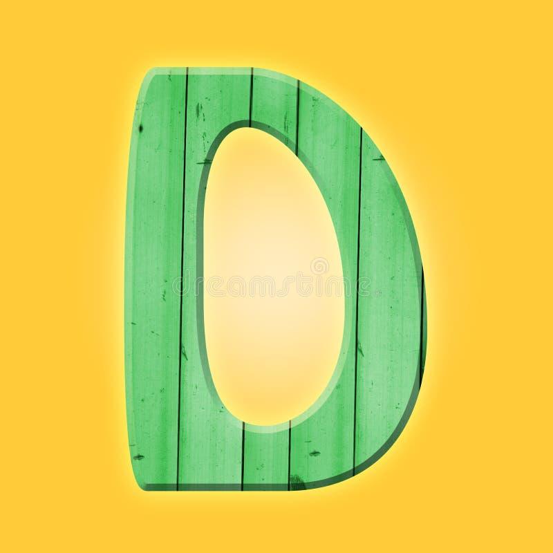 Simbolo di lettera di legno di alfabeto del parquet - D Isolato su priorità bassa bianca fotografia stock libera da diritti