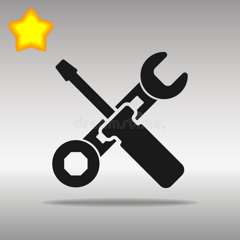 Simbolo di logo del bottone dell'icona del nero dello strumento del lavoro illustrazione di stock