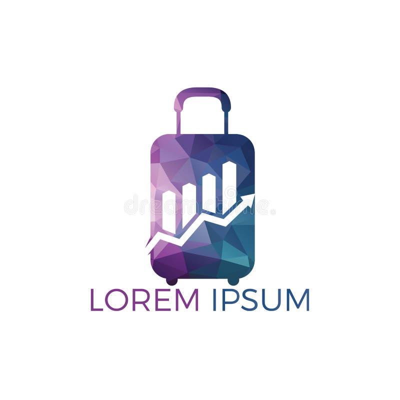 Simbolo di logo della borsa di viaggio dell'estratto di affari Concetto creativo di simbolo di crescita illustrazione vettoriale