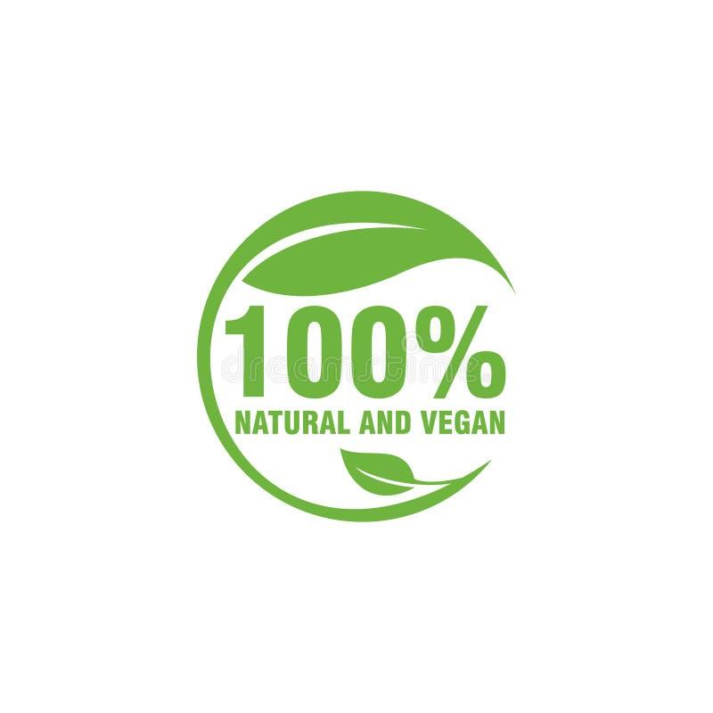 simbolo di logo della natura 100% e del vegano per il logo di campagna del vegano fotografia stock