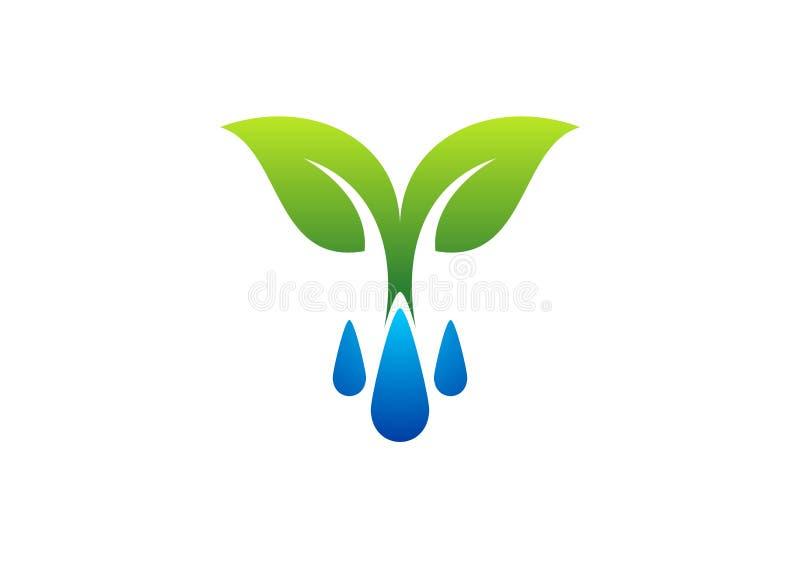Simbolo di logo, della rugiada e della pianta delle gocce di acqua, icona della molla royalty illustrazione gratis