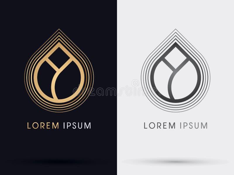 Simbolo di Lotus dell'oro illustrazione di stock