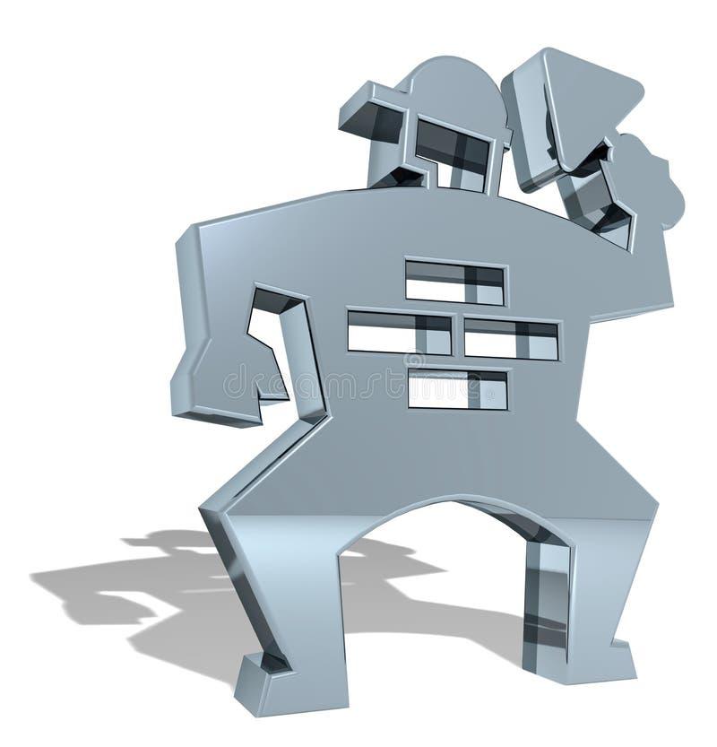 Simbolo di manson 3D di strato di mattone royalty illustrazione gratis