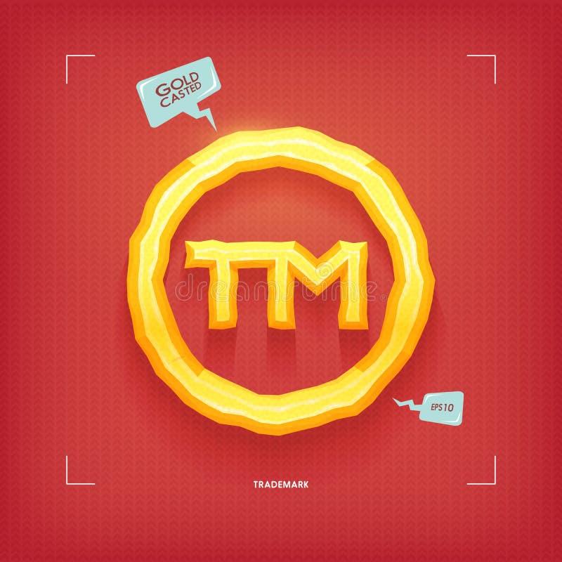 Simbolo di marchio di fabbrica Elemento dorato di carattere del gioiello Oro casted Illustrazione di vettore illustrazione di stock