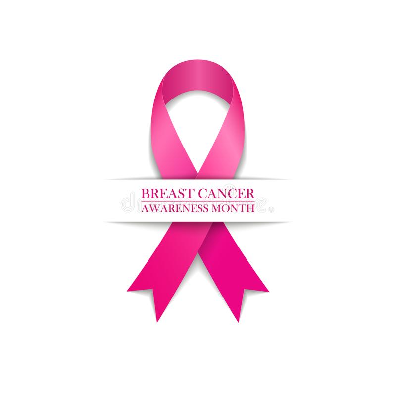Simbolo di mese di consapevolezza del cancro al seno Nastro dentellare su priorità bassa bianca illustrazione vettoriale