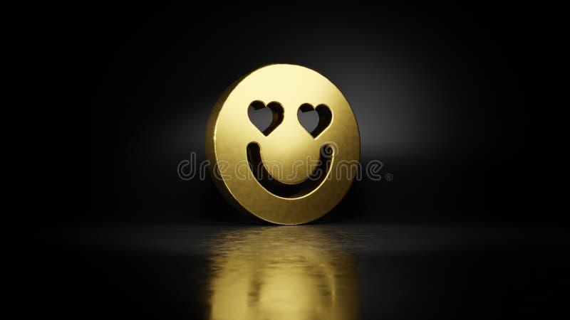 Simbolo di metallo oro delle emoticon in love 3D rendering con riflesso sfuocato sul pavimento con sfondo scuro illustrazione vettoriale