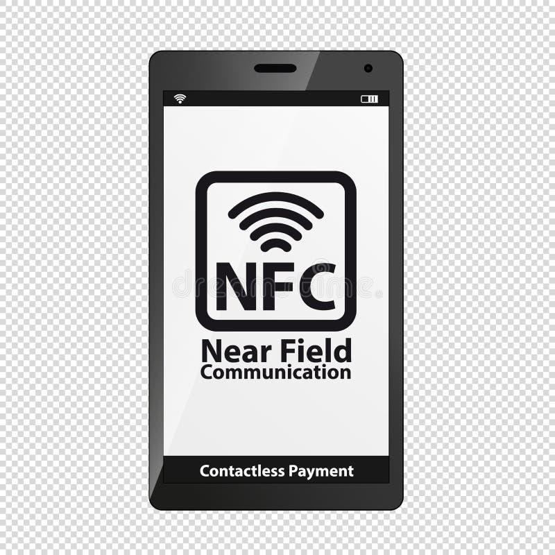 Simbolo di NFC sullo schermo moderno di Smartphone - illustrazione di vettore - isolato su fondo trasparente illustrazione vettoriale