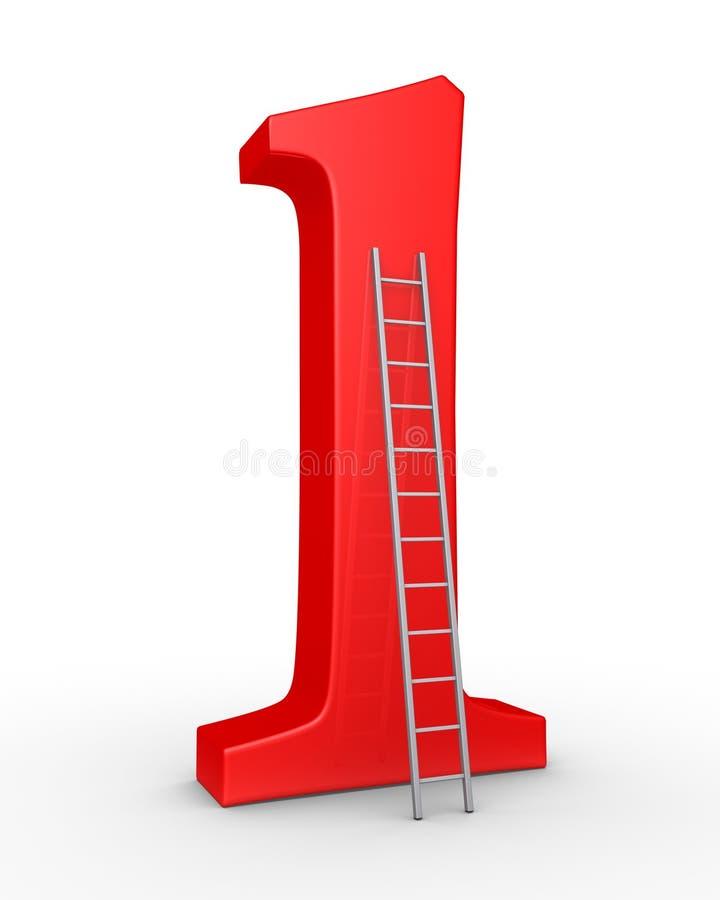 Simbolo di numero uno e una scala illustrazione vettoriale