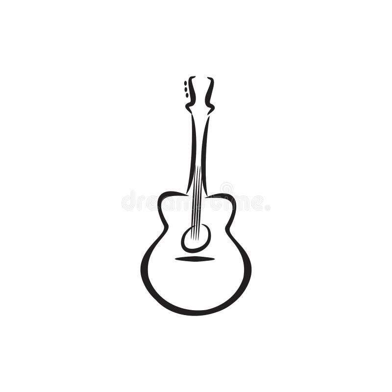 Simbolo di nylon acustico delle illustrazioni della chitarra illustrazione vettoriale
