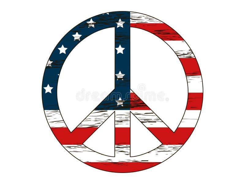 Simbolo di pace con i colori della bandiera americana e delle stelle Isolamento su una priorità bassa bianca Stile di lerciume de royalty illustrazione gratis