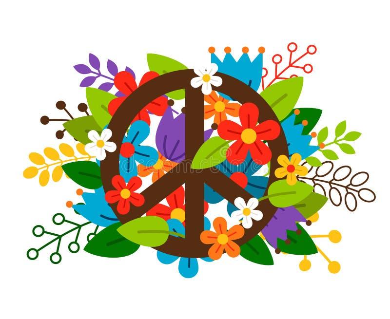Simbolo di pace con i fiori illustrazione di stock
