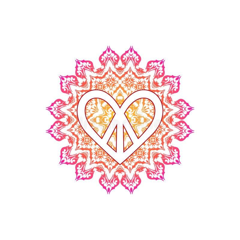 Simbolo di pace di hippy nella forma di cuore sopra la mandala decorata illustrazione vettoriale