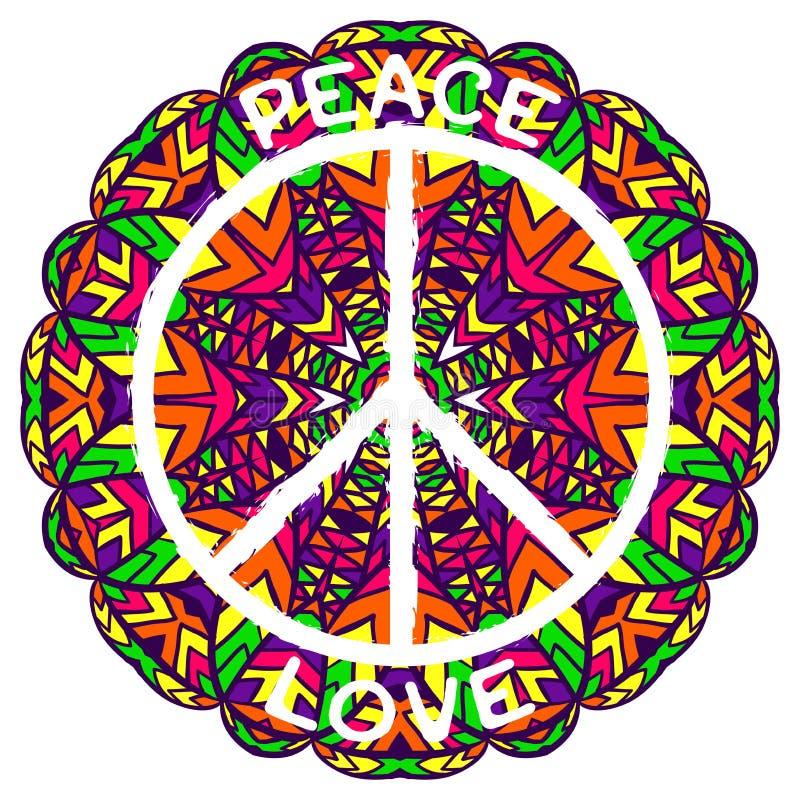 Simbolo di pace di hippy Pace ed amore sul fondo variopinto decorato della mandala illustrazione vettoriale