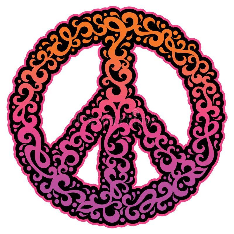 Simbolo di pace di Swirly illustrazione di stock