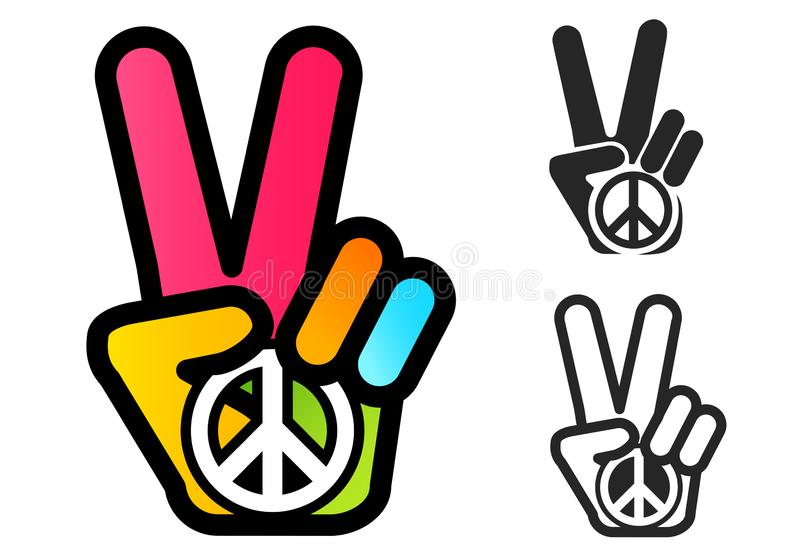 Simbolo di pace e della mano royalty illustrazione gratis