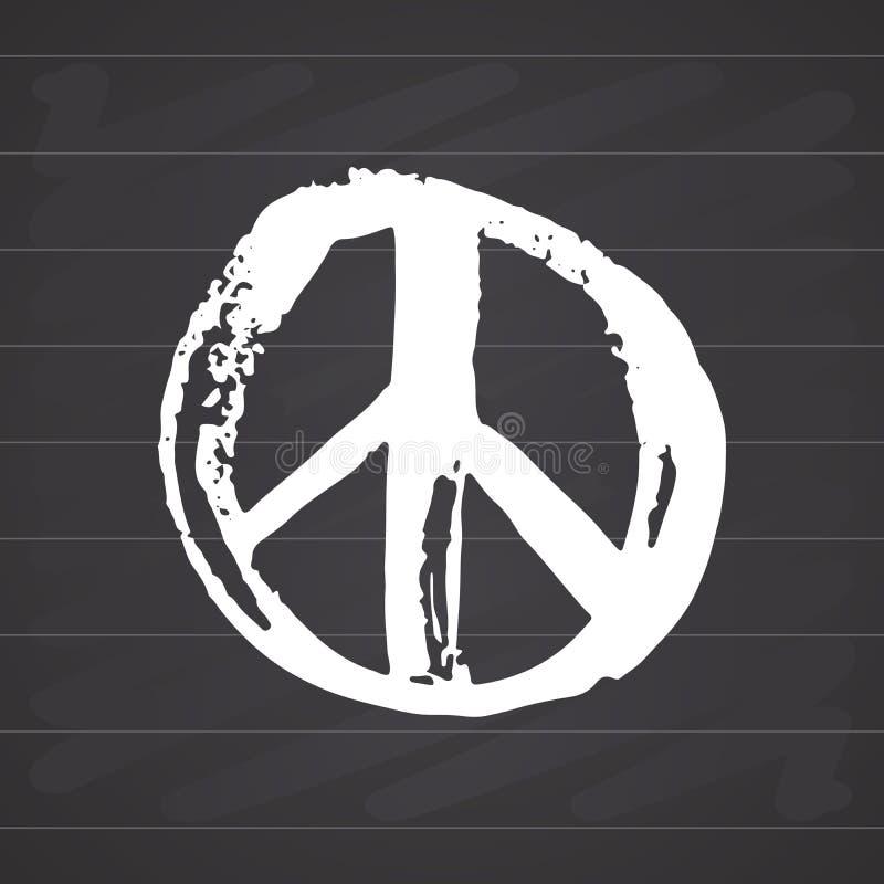 Simbolo di pace, hippy disegnato a mano di lerciume o segno del pacifista, illustrazione di vettore isolata su fondo bianco royalty illustrazione gratis