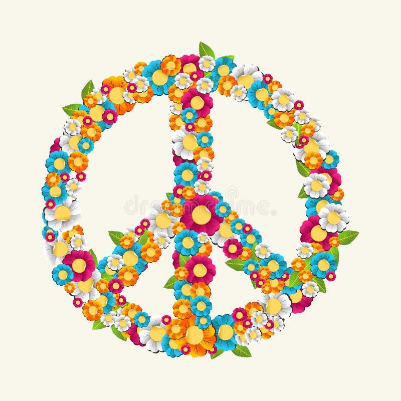 Simbolo di pace isolato fatto con l'archivio della composizione EPS10 nei fiori. illustrazione di stock