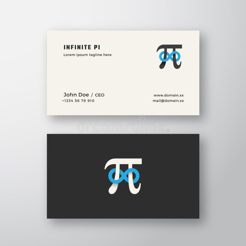 Simbolo di pi con il segno di vettore dell'estratto del segno di infinito o il logo ed il modello del biglietto da visita Derisio royalty illustrazione gratis