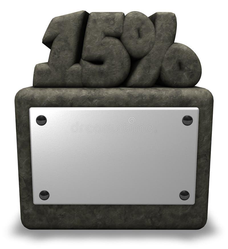 Simbolo di pietra delle percentuali e di numero illustrazione vettoriale