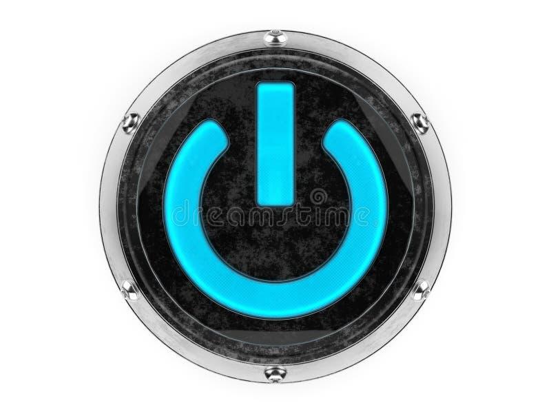 Simbolo di potere del cerchio del metallo e di vetro fotografia stock