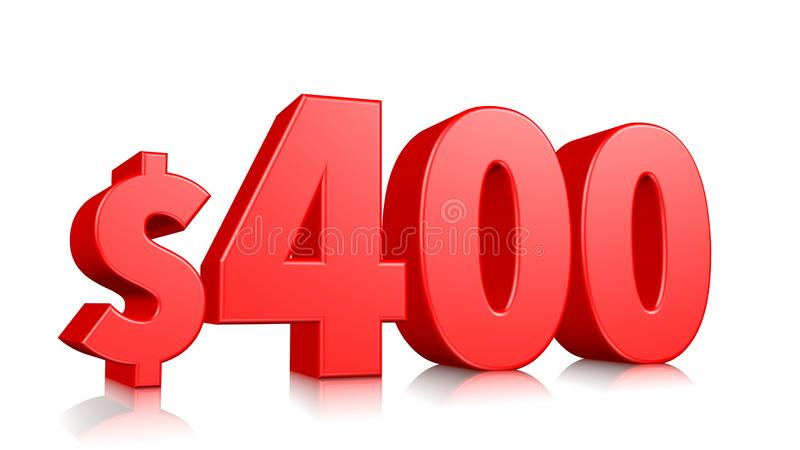 Simbolo di prezzi 400$ quattrocento numero rosso 3d del testo rendere con il simbolo di dollaro su fondo bianco royalty illustrazione gratis