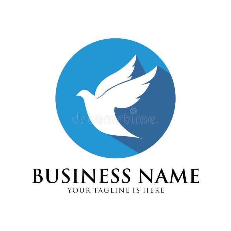 Simbolo di progettazione di logo di vettore della colomba di pace e di umanità illustrazione vettoriale