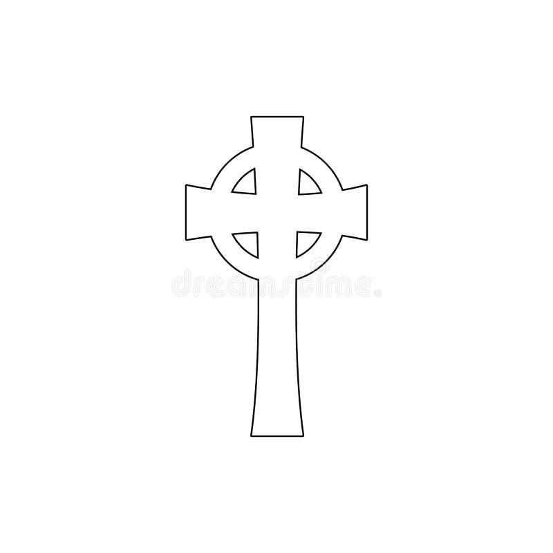 Simbolo di religione, icona del profilo della croce celtica Elemento dell'illustrazione di simbolo di religione I segni e l'icona royalty illustrazione gratis