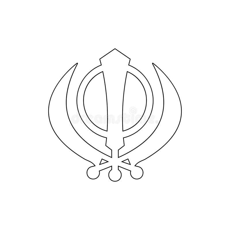 Simbolo di religione, icona del profilo di sikhismo Elemento dell'illustrazione di simbolo di religione I segni e l'icona di simb illustrazione di stock