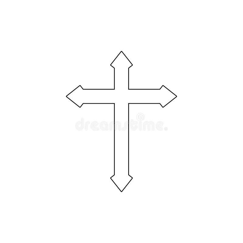 Simbolo di religione, icona trasversale del profilo Elemento dell'illustrazione di simbolo di religione I segni e l'icona di simb illustrazione di stock