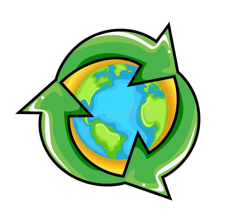 Simbolo di riciclaggio concettuale sopra il globo della terra illustrazione di stock