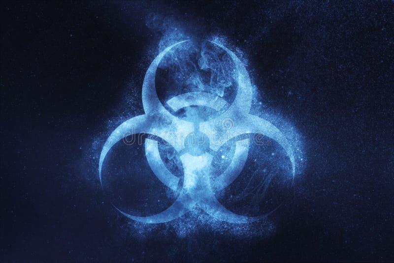 Simbolo di rischio biologico Segno di Biohazard Fondo astratto del cielo notturno immagini stock