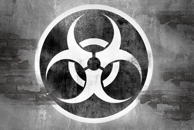 Simbolo di rischio biologico sulla parete illustrazione vettoriale
