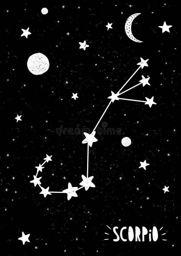 Simbolo di scorpione Illustrazione disegnata a mano di vettore dello zodiaco Grafico infantile royalty illustrazione gratis