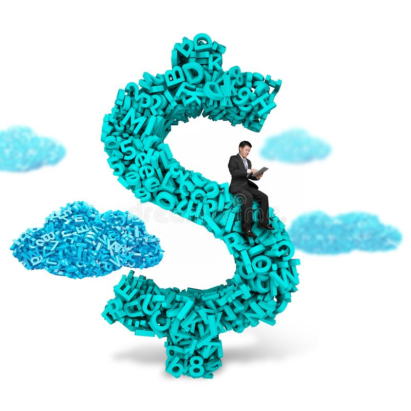 Simbolo di seduta dei soldi del simbolo di dollaro dell'uomo d'affari, grandi dati dei caratteri 3d immagine stock