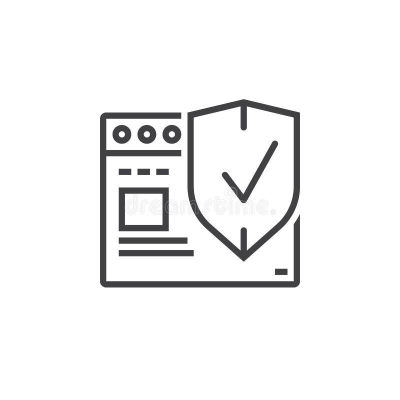 Simbolo di sicurezza di Internet Browser Web con lo schermo Lin di protezione illustrazione vettoriale